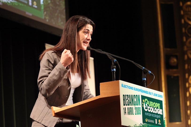 Sandrine Bélier lors du meeting à Besançon européennes 2009